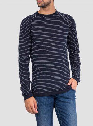 Frente da camisola riscas decote redondo em azul marino para homem da Tiffosi