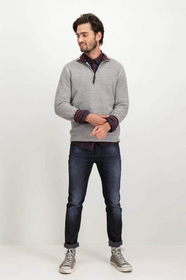 Frente de cardigan cinzento com fecho para homem da Garcia Jeans