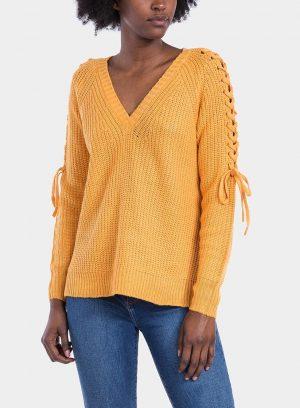 Frente de camisola decote em V manga entrançada em amarelo para mulher da Tiffosi