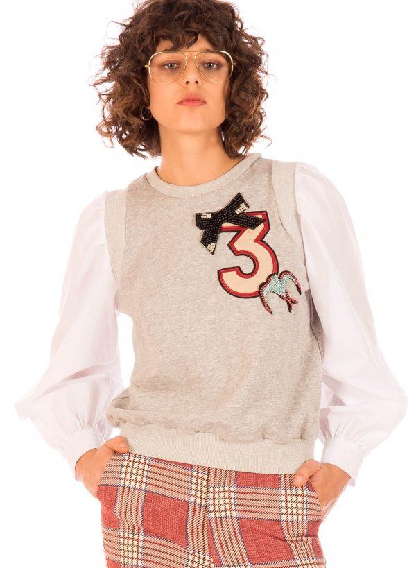 Camisola com mangas de camisa para mulher da Minueto