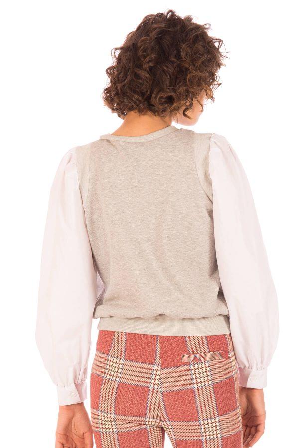 Costas da camisola com mangas de camisa para mulher da Minueto