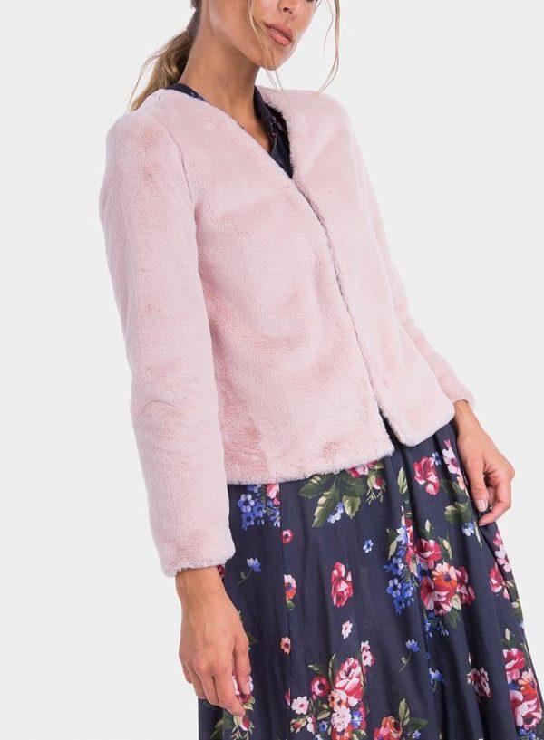 Lateral de casaco de pelo rosa de mulher da Tiffosi