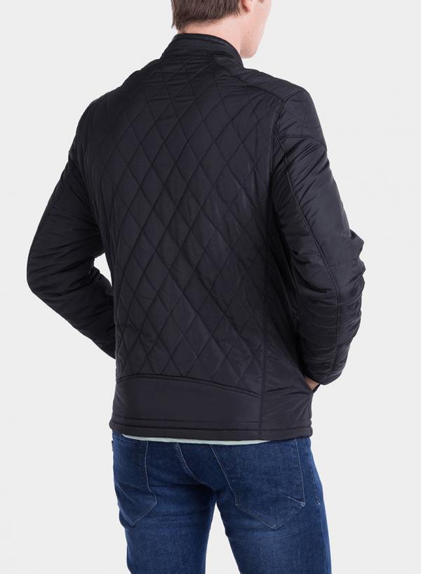 Costas de casaco acolchoado com pespontos em preto para homem da Tiffosi
