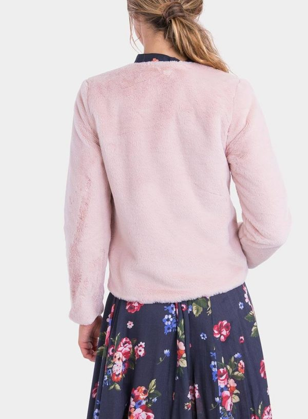 Costas de casaco de pelo rosa de mulher da Tiffosi