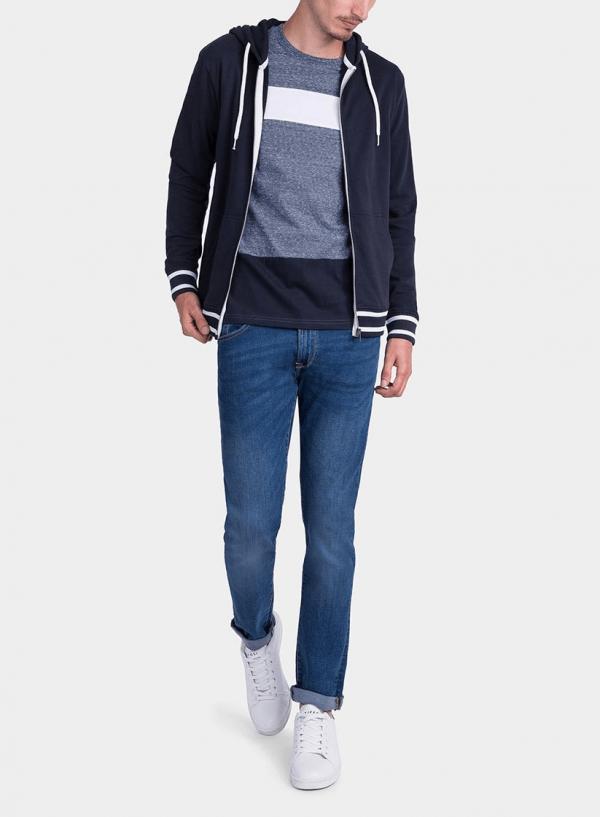Frente de blusão felpa azul com capuz da Tiffosi para homem
