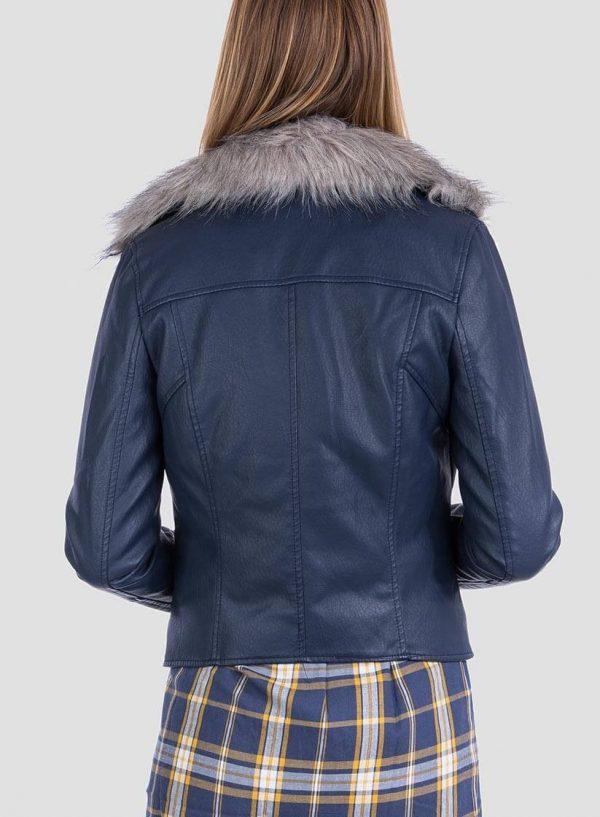 Costas de casaco efeito pele pelo amovível, de mulher da Tiffosi