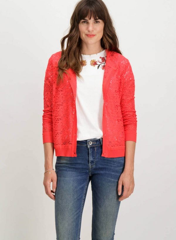 Cardigan de renda vermelha com botões de mulher da Garcia Jeans