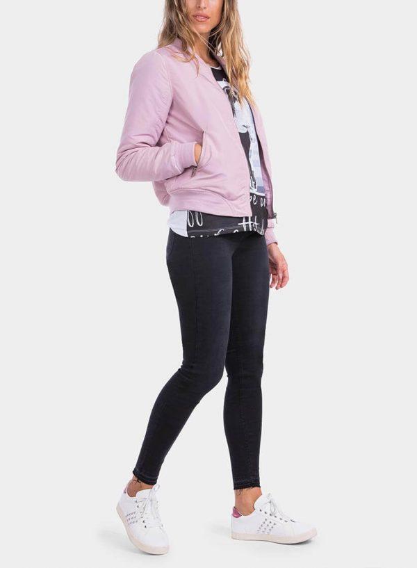 Lateral casaco bomber fecho na manga rosa da Tiffosi