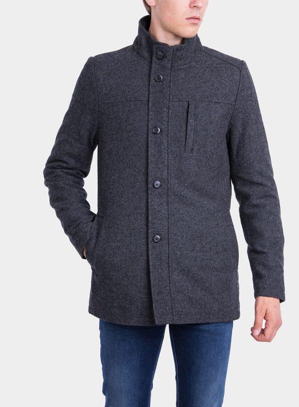 Frente de casaco comprido pormenor bolso em cinza escuro para homem da Tiffosi