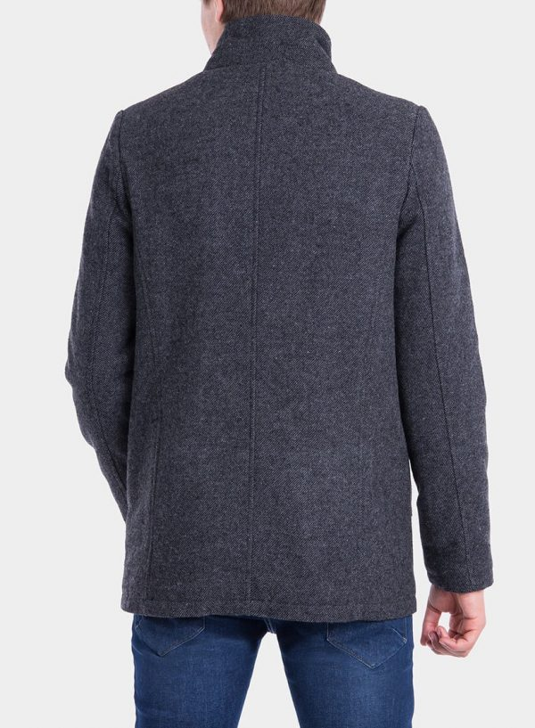 Costas de casaco comprido pormenor bolso em cinza escuro para homem da Tiffosi