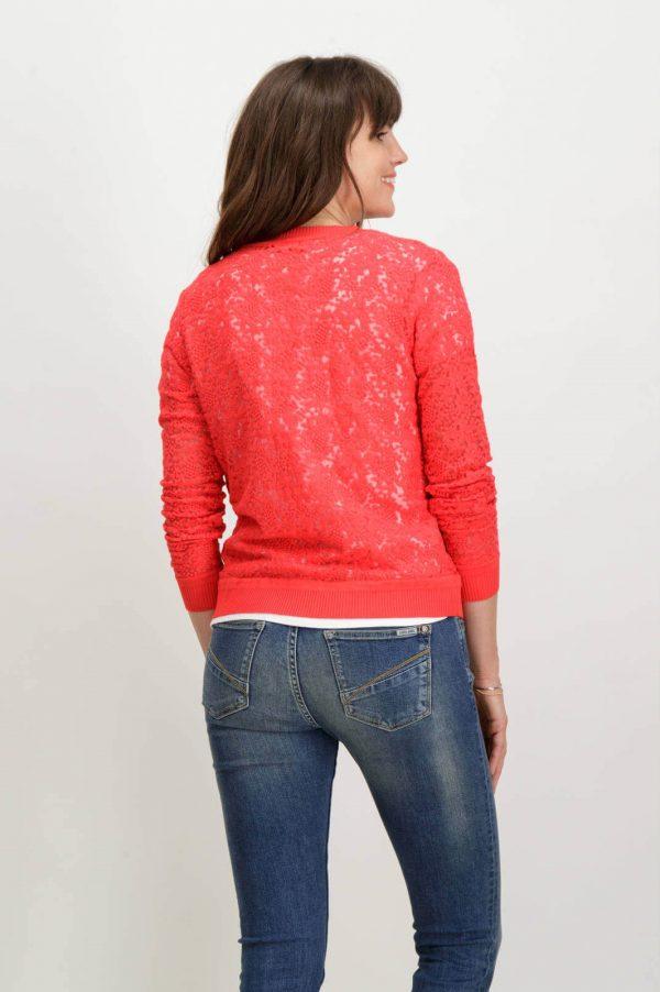 Costas de cardigan de renda vermelha com botões de mulher da Garcia Jeans