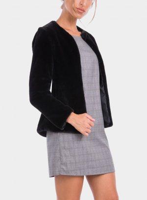 Frente de casaco de pelo preto de mulher da Tiffosi