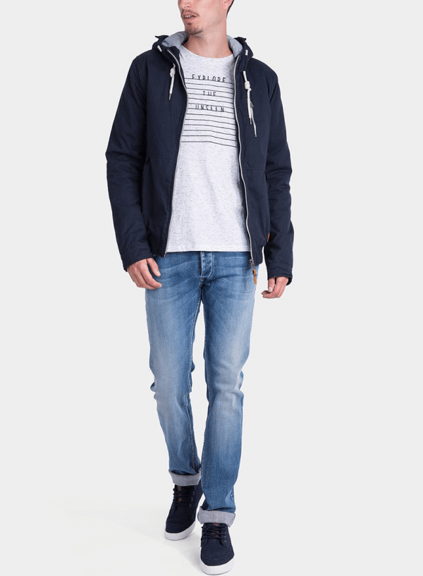 Frente de casaco com Capuz pormenor cordões em azul marino para homem da Tiffosi
