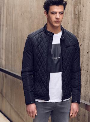 Frente de casaco acolchoado com pespontos em preto para homem da Tiffosi