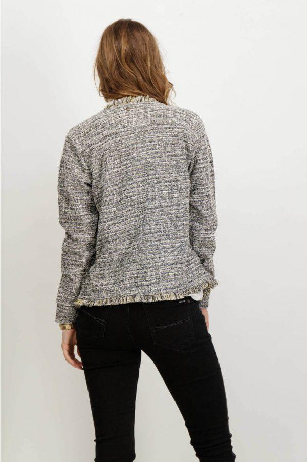 Costas do casaco com franjas em cinza mescla para mulher da Garcia Jeans