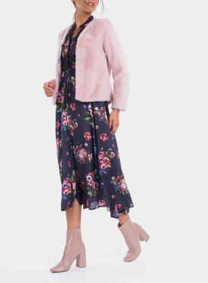 Frente de casaco de pelo rosa de mulher da Tiffosi