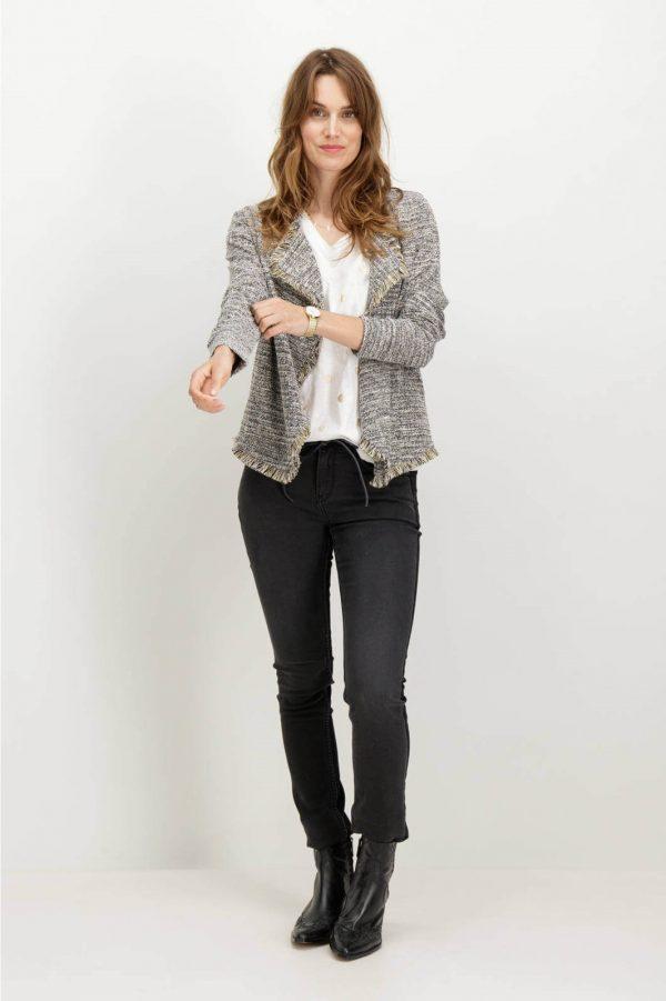 Frente do casaco com franjas em cinza mescla para mulher da Garcia Jeans