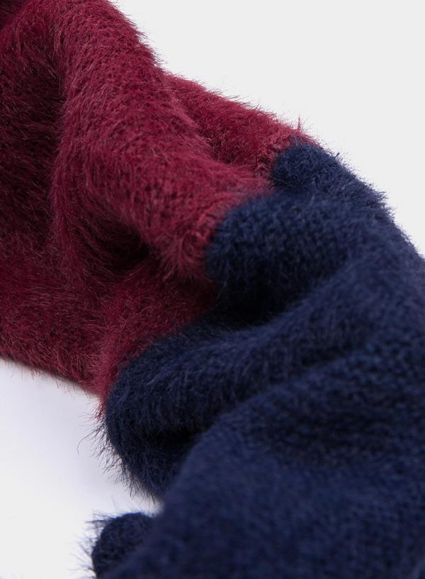 Gola bicolor azul/bordô da mulher da Tiffosi