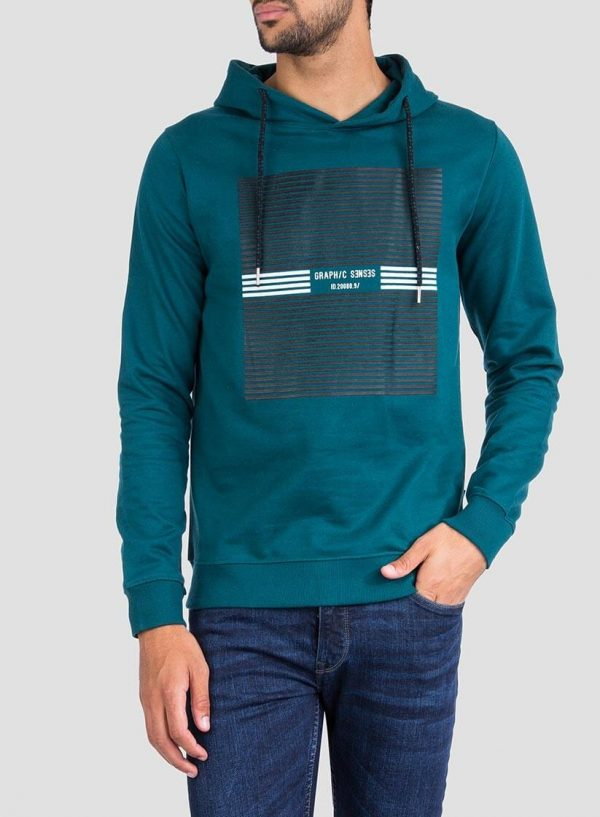 Frente de hoodie estampado verde da Tiffosi para homem