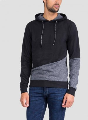 Frente de hoodie combinado cinza mescla e preto para homem da Tiffosi