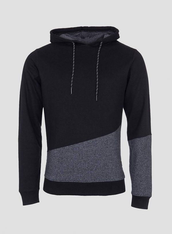 Hoodie combinado cinza mescla e preto para homem da Tiffosi