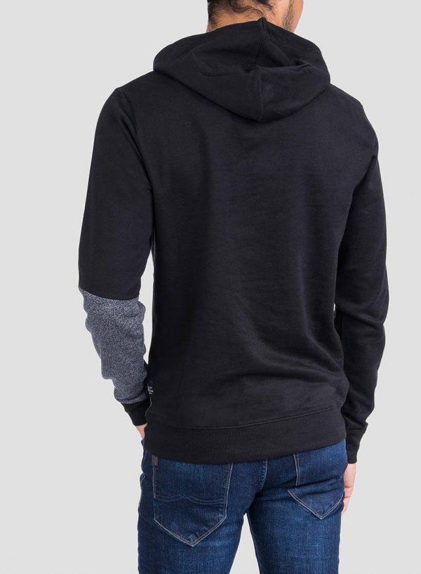 Costas de hoodie combinado cinza mescla e preto para homem da Tiffosi