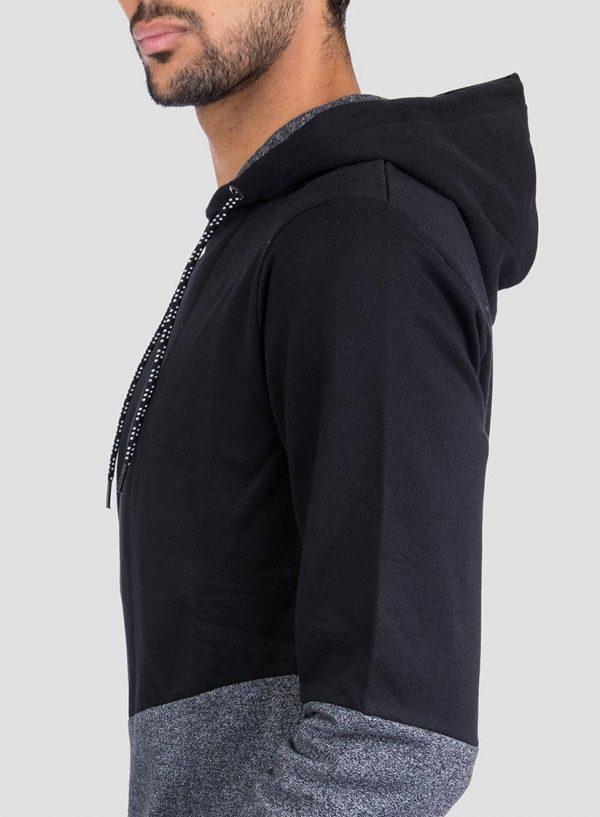 Lateral de hoodie combinado cinza mescla e preto para homem da Tiffosi