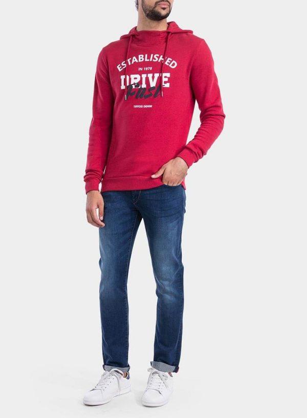 Frente de hoodie vermelho com capuz para homem da Tiffosi