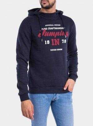 Frente de hoodie azul marino com capuz da Tiffosi para homem