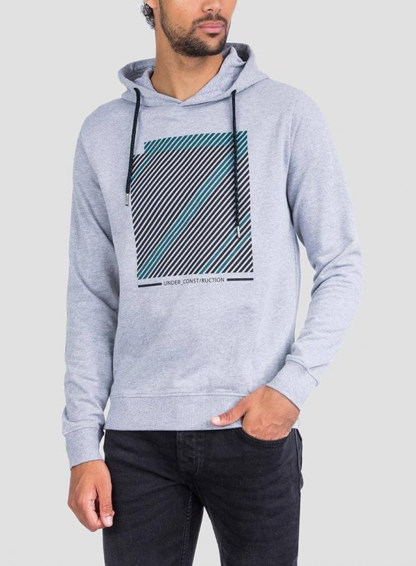 Frente de hoodie estampado cinza claro da Tiffosi para homem