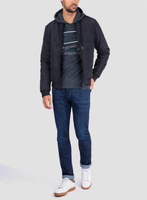 Frente de hoodie estampado cinza escuro da Tiffosi para homem