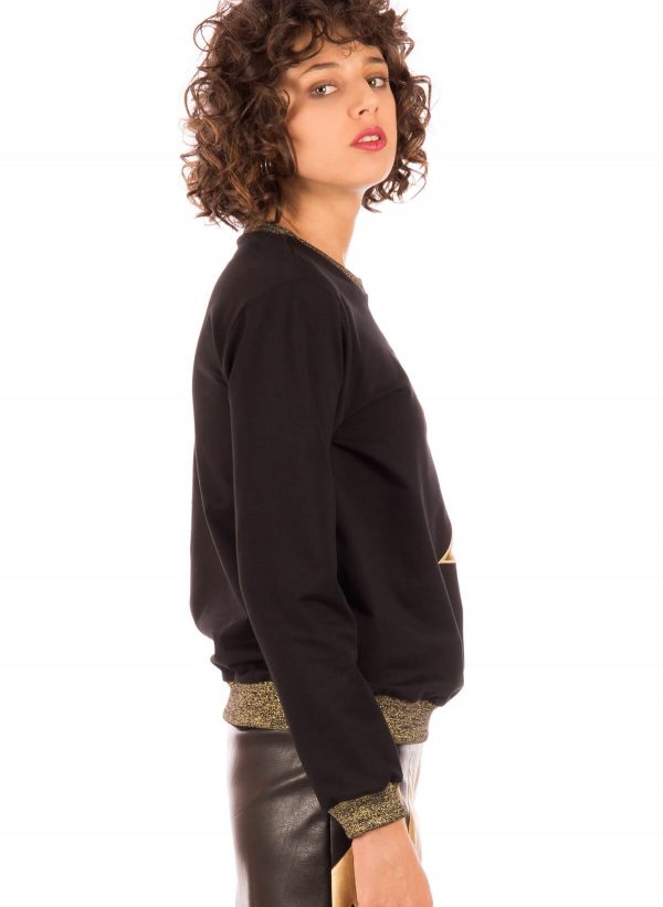 Lateral de sweatshirt com gato Minueto para mulher