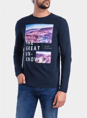 Frente de t-shirt azul marino com impressão texto para homem da Tiffosi