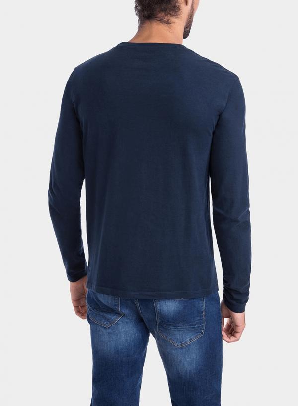 Costas de t-shirt azul marino com impressão texto para homem da Tiffosi