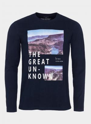 T-shirt azul marino com impressão texto para homem da Tiffosi