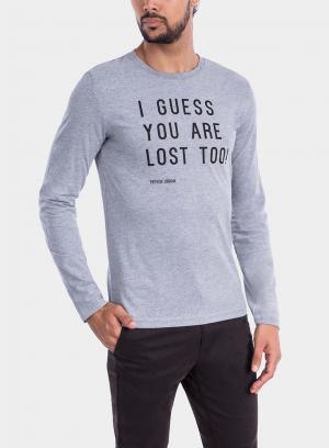 Frente de t-Shirt cinza claro com impressão para homem da Tiffosi