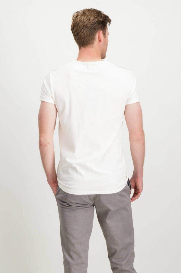 Costas da T-shirt branca com símbolo Garcia Jeans para homem