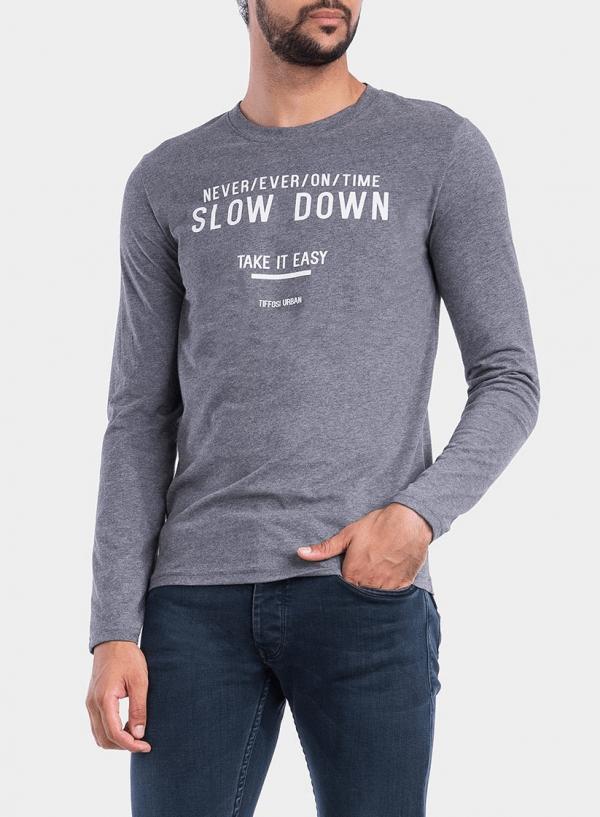 Frente de t-shirt cinza escuro com impressão para homem da Tiffosi