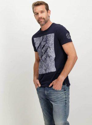 T-shirt azul marino bordada Garcia Jeans para homem