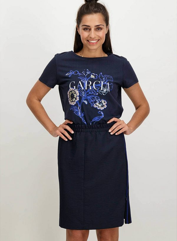 T-shirt bordada com lantejoulas em azul marino para mulher da Garcia Jeans
