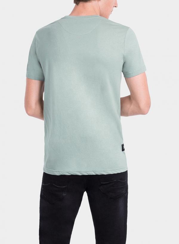 Costas de t-shirt verde estampada texto para homem da Tiffosi