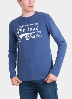 Frente de t-shirt azul com impressão texto para homem da Tiffosi