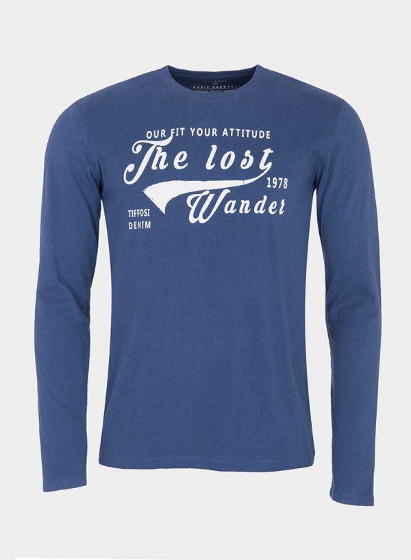 T-shirt azul com impressão texto para homem da Tiffosi