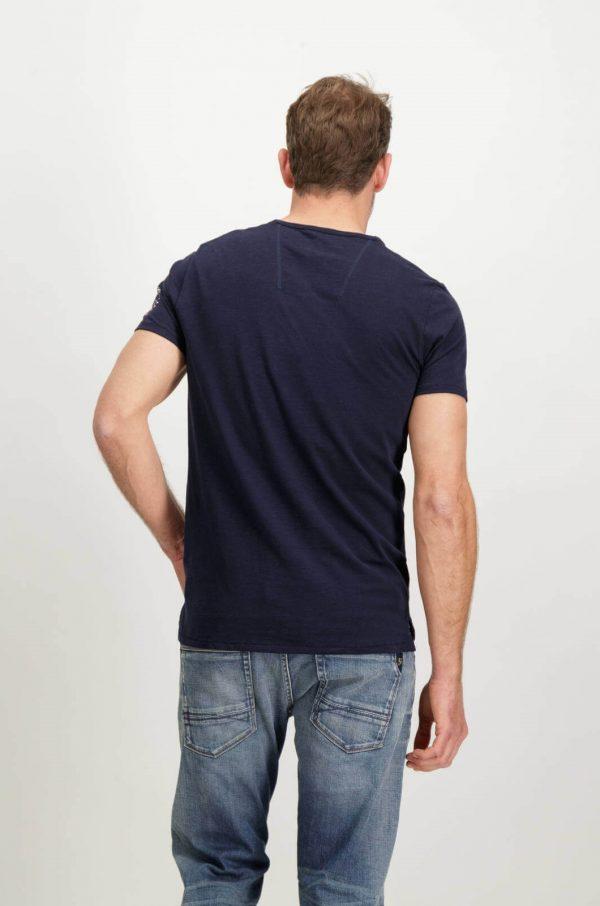 Costas da T-shirt azul marino bordada Garcia Jeans para homem