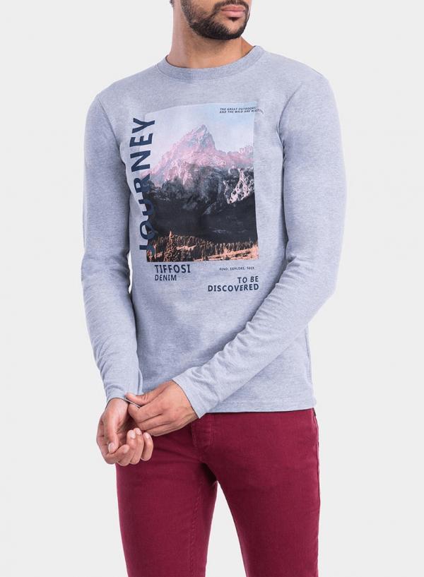 Frente de t-shirt cinza claro com impressão texto para homem da Tiffosi