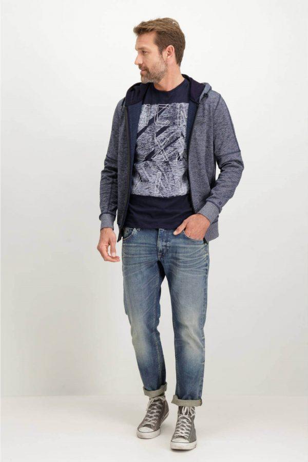 Frente da T-shirt azul marino bordada Garcia Jeans para homem