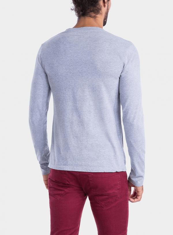 Costas de t-shirt cinza claro com impressão texto para homem da Tiffosi