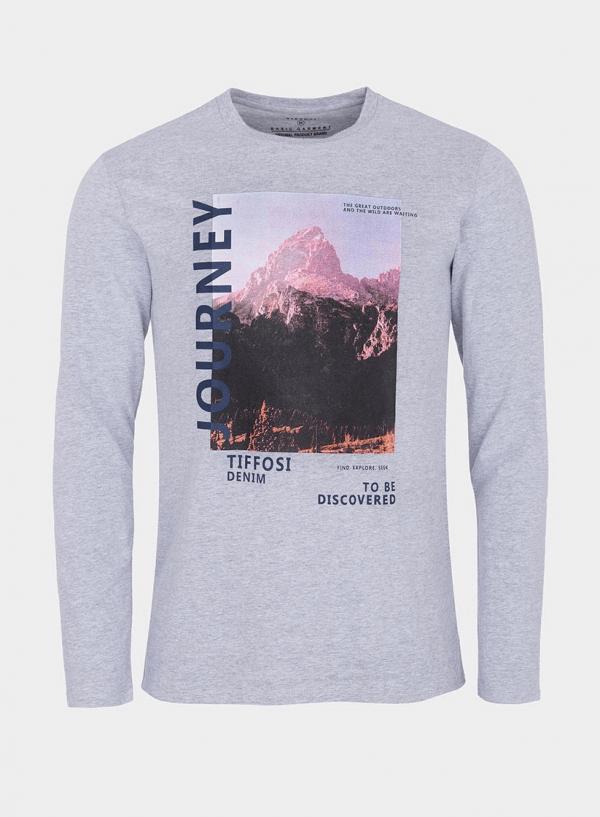 T-shirt cinza claro com impressão texto para homem da Tiffosi