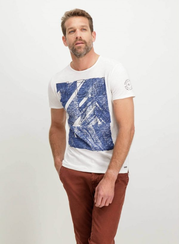 T-shirt branca bordada para homem da Garcia Jeans