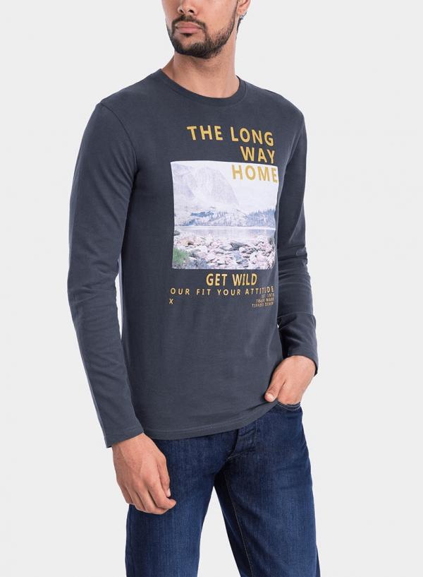 Frente de t-shirt cinza escuro com impressão texto para homem da Tiffosi